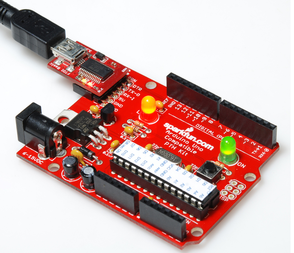 Redboard Kit Quickstart Guide Sparkfun Electronics Soldering On From Arduino For Dummies As A Bonus The Ftdi Basic Board Not Only Programs Your But It Also Powers